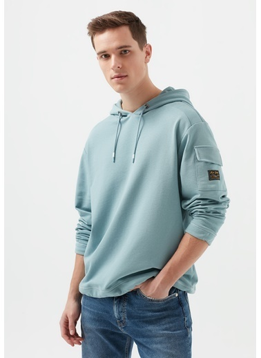 Mavi Kapüşonlu Mavi Sweatshirt Mavi